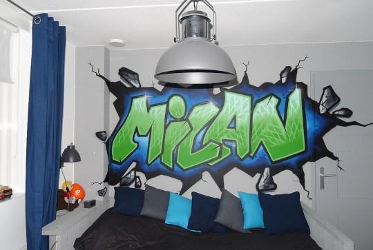 Graffiti kinderkamer Milan