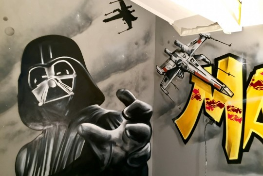 star wars graffiti darth vader kinderkamer