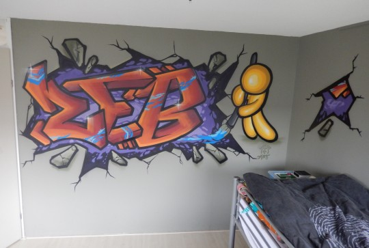 Graffiti kinderkamer Zeb