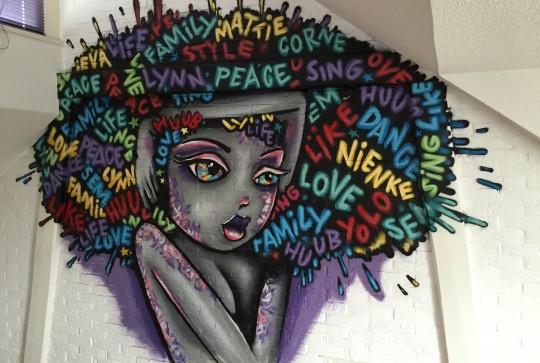 Graffiti kinderkamer big hair