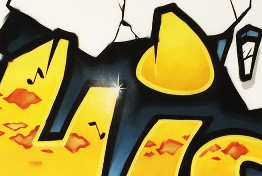 Graffiti kinderkamer detail Hidde