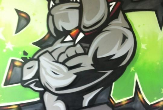 Graffiti slaapkamer bulldog