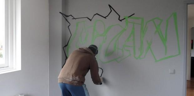 Graffiti kinderkamer Milan 1