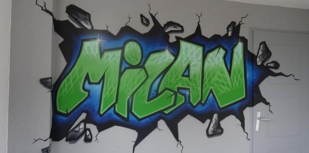Graffiti kinderkamer Milan 6