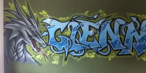 Graffiti kinderkamer schildering Glenn